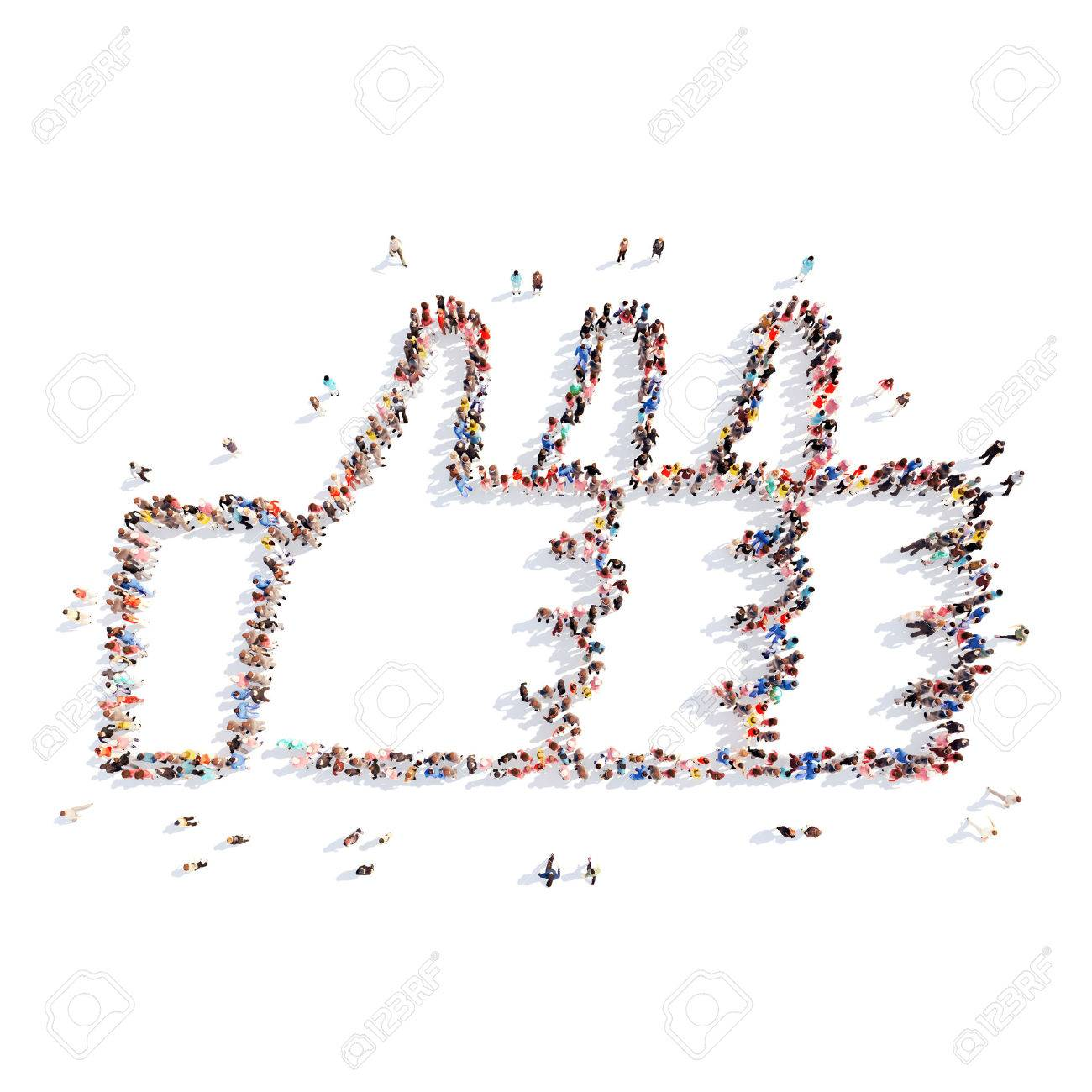 Large group of people in the form of a triple Like. Isolated, white background. - 39260901