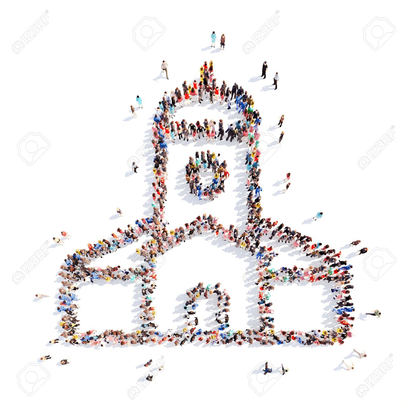 Large group of people in the form of the church. Isolated, white background. - 39260902
