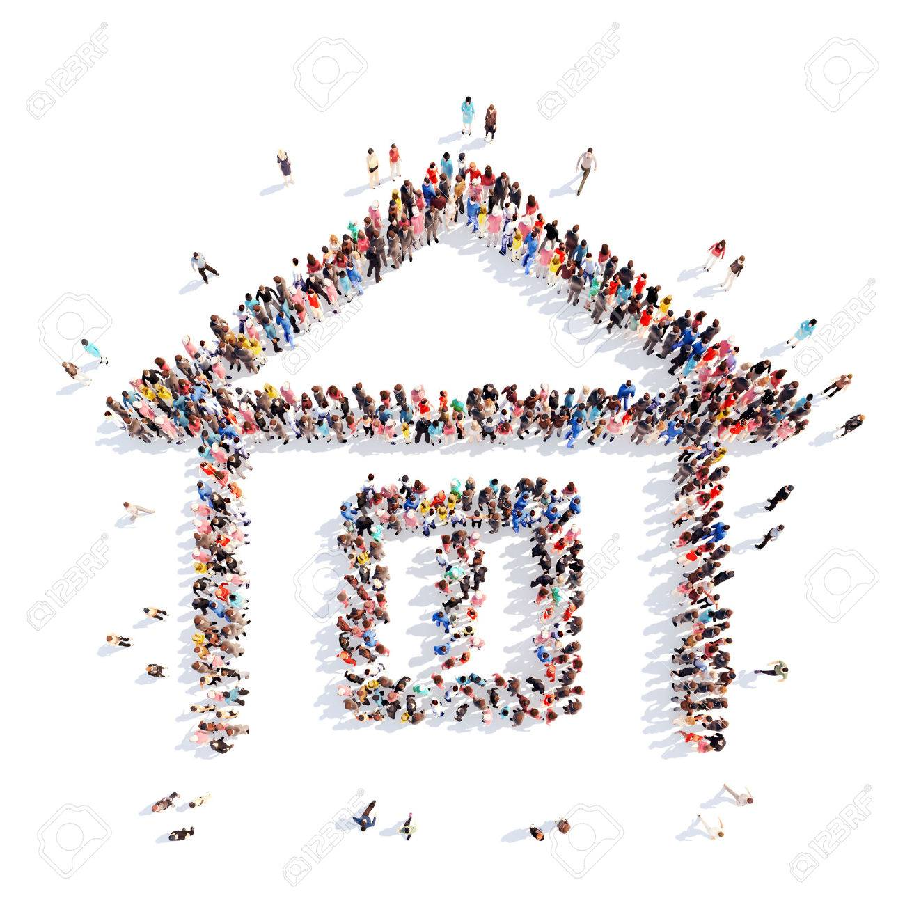 A large group of people in the shape of a house. White background. - 39494234