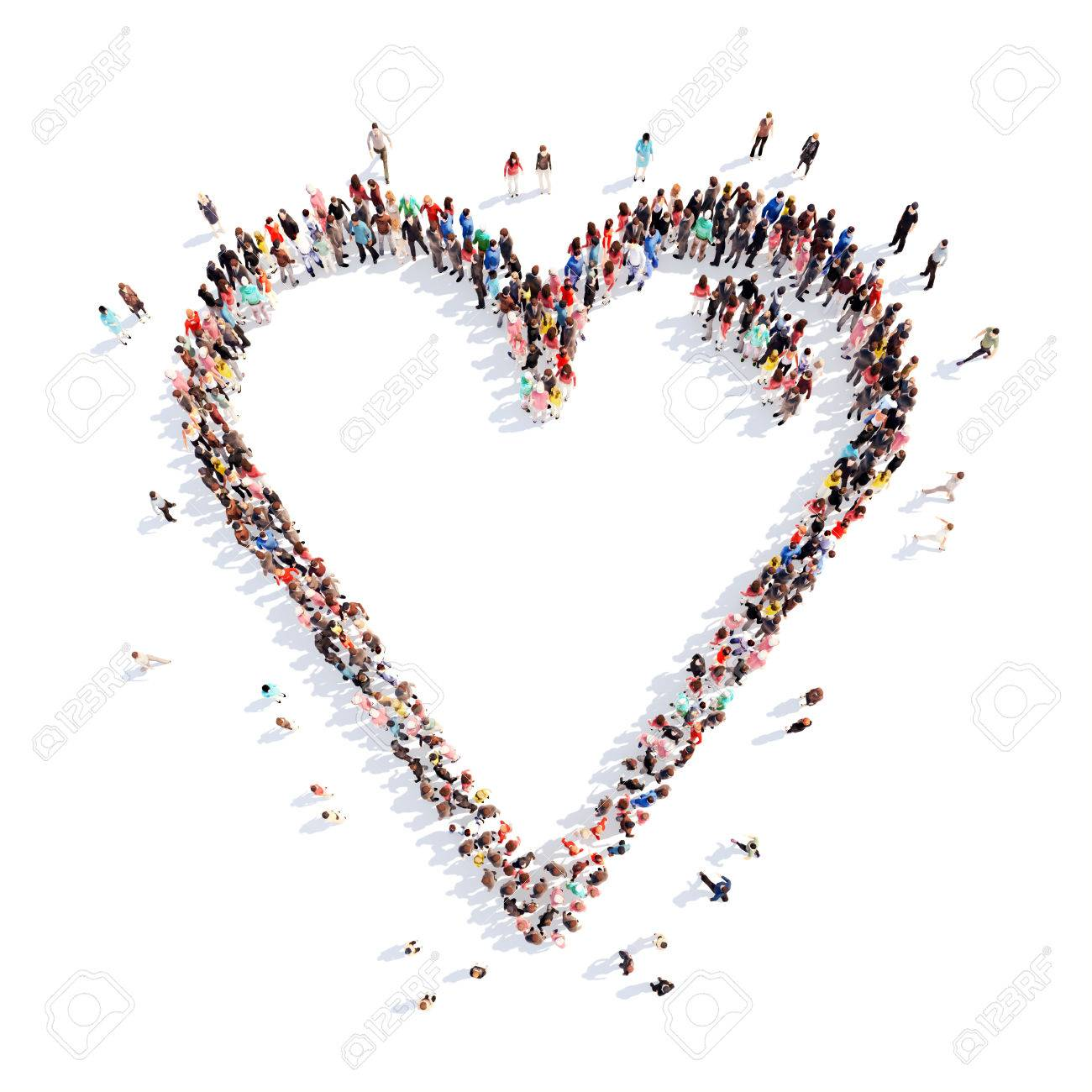 Large group of people in the form of hearts, love. Isolated, white background. - 39494826