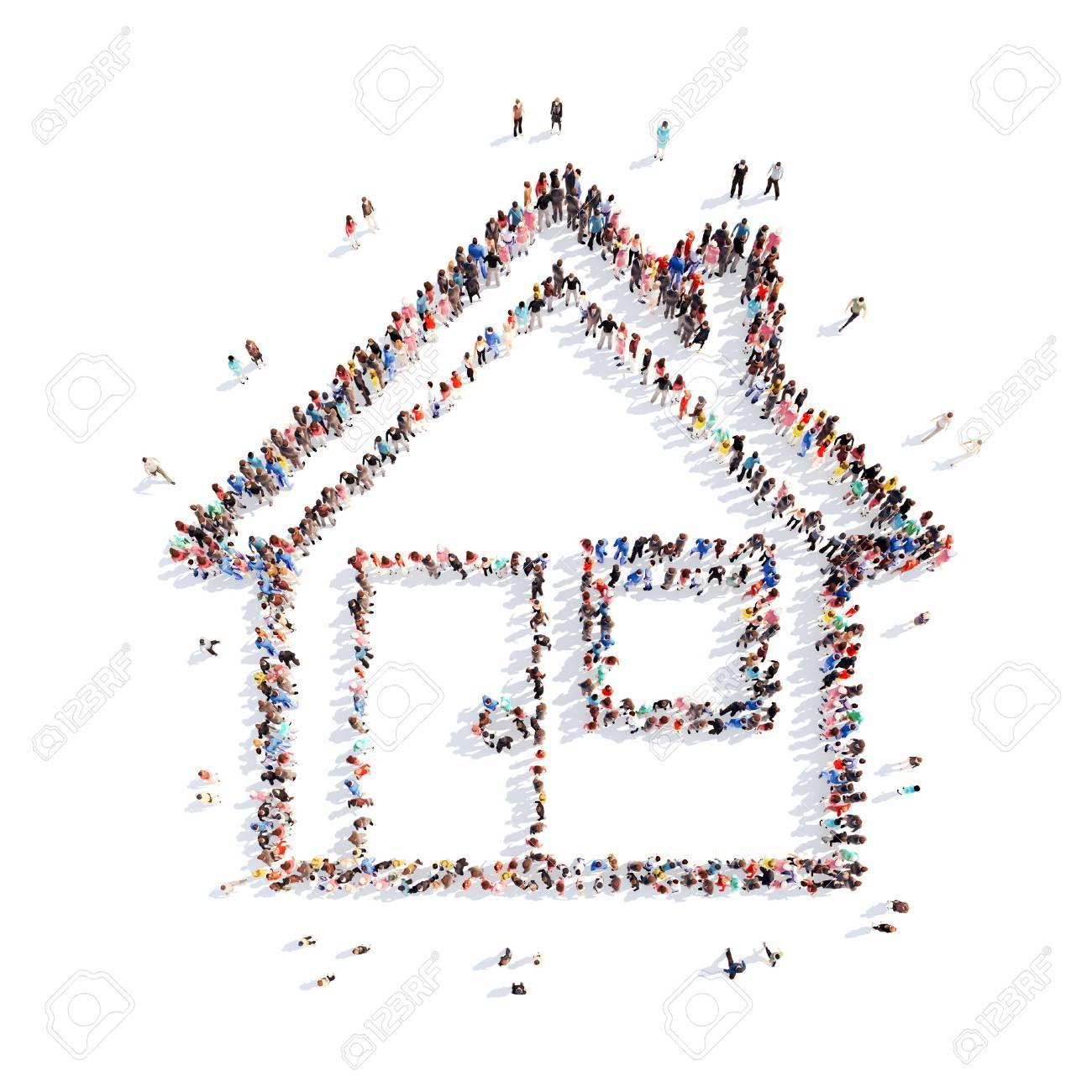 A large group of people in the shape of a house. Isolated, white background. - 39717362