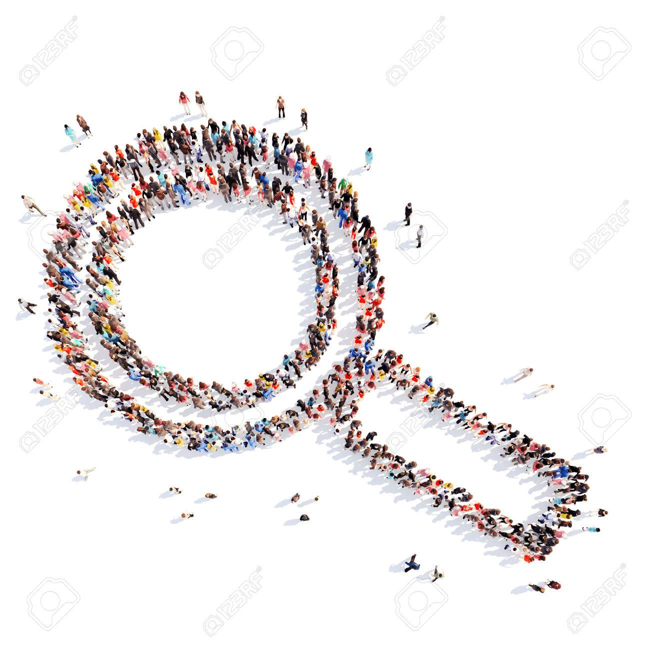 A large group of people in the shape of a magnifying glass. Isolated, white background. - 39717040