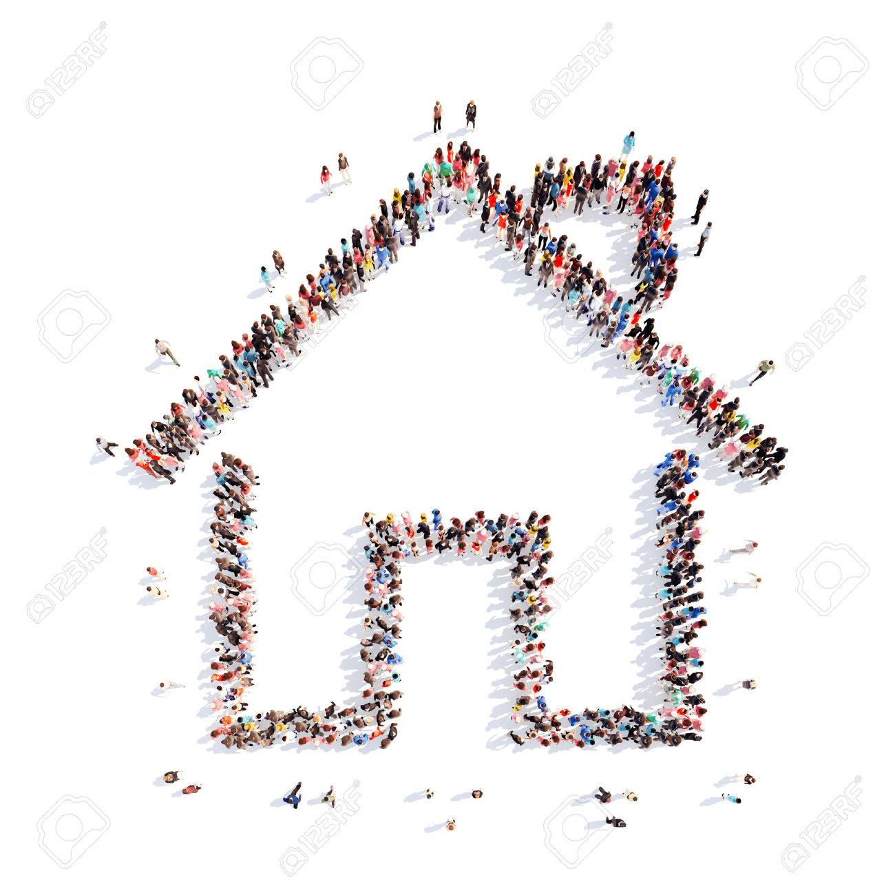 A large group of people in the shape of a house. Isolated, white background. - 40574344