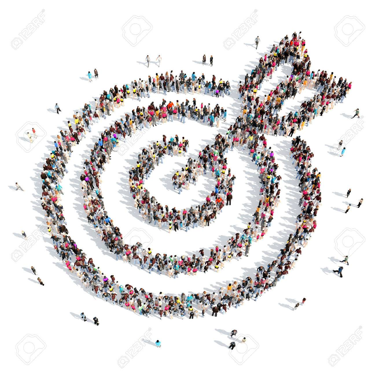 A large group of people in the shape of a target with an arrow. Isolated, white background. - 40637281