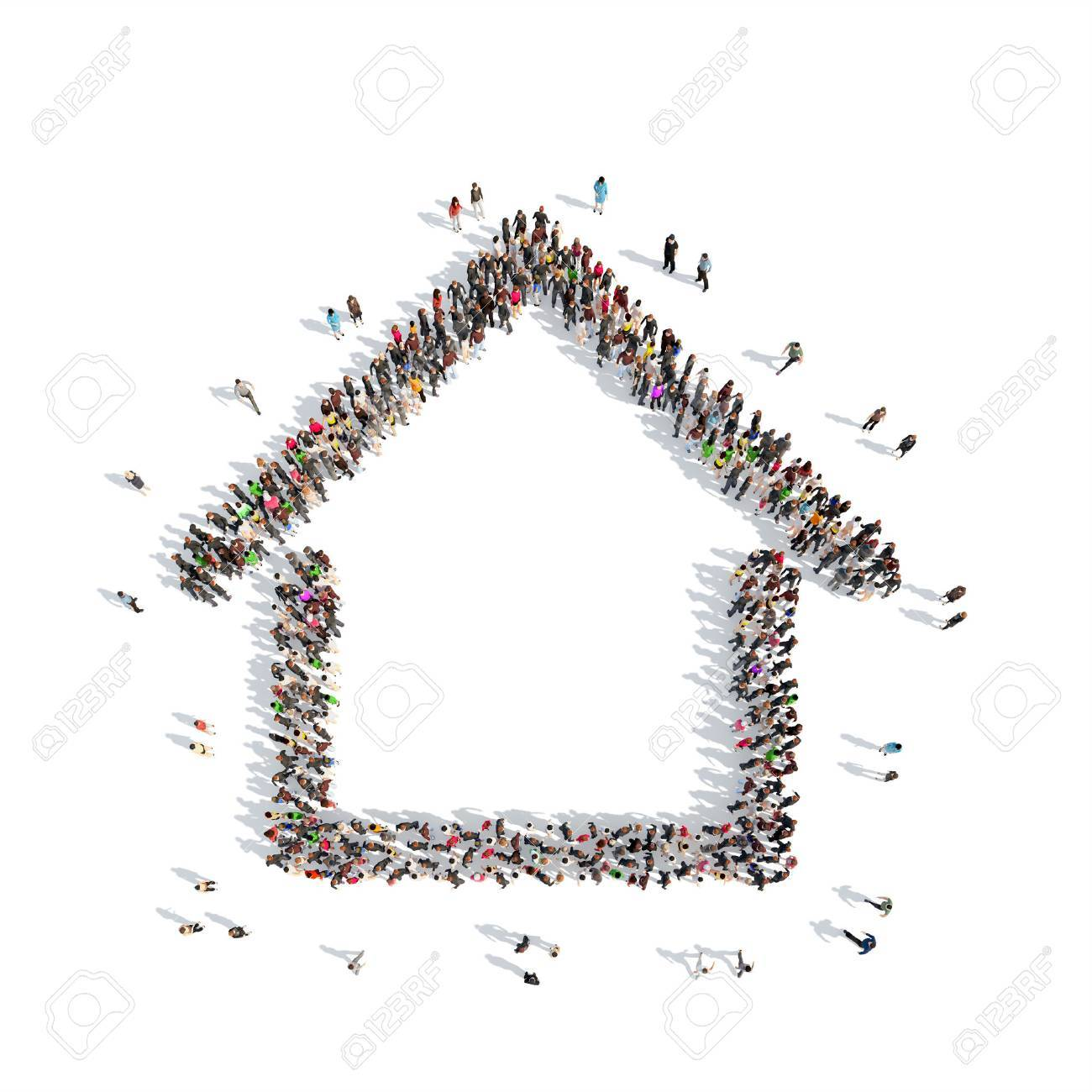 A large group of people in the shape of a house. Isolated, white background. - 40836712