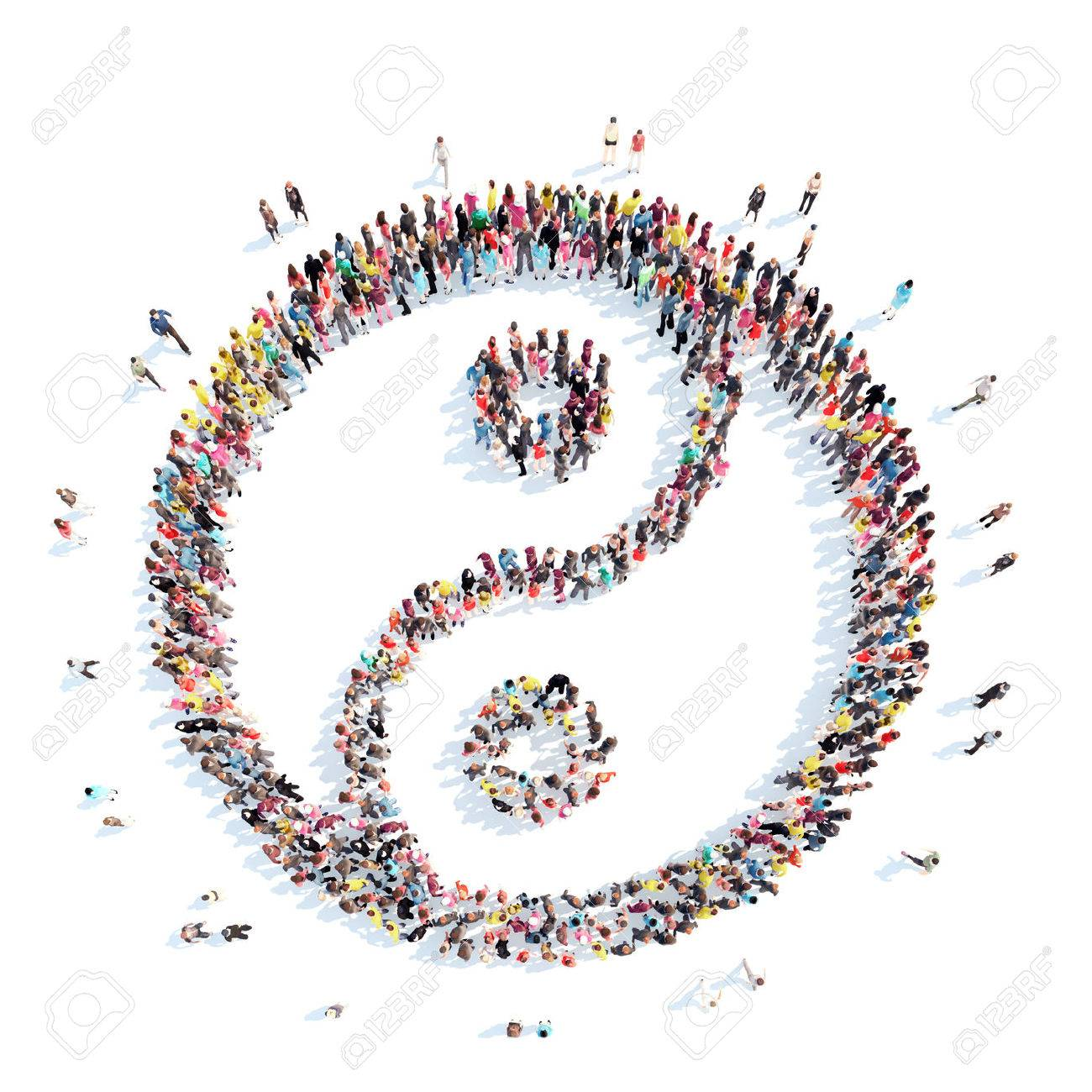 A large group of people in the shape of yin yang. Isolated, white background. - 41237681