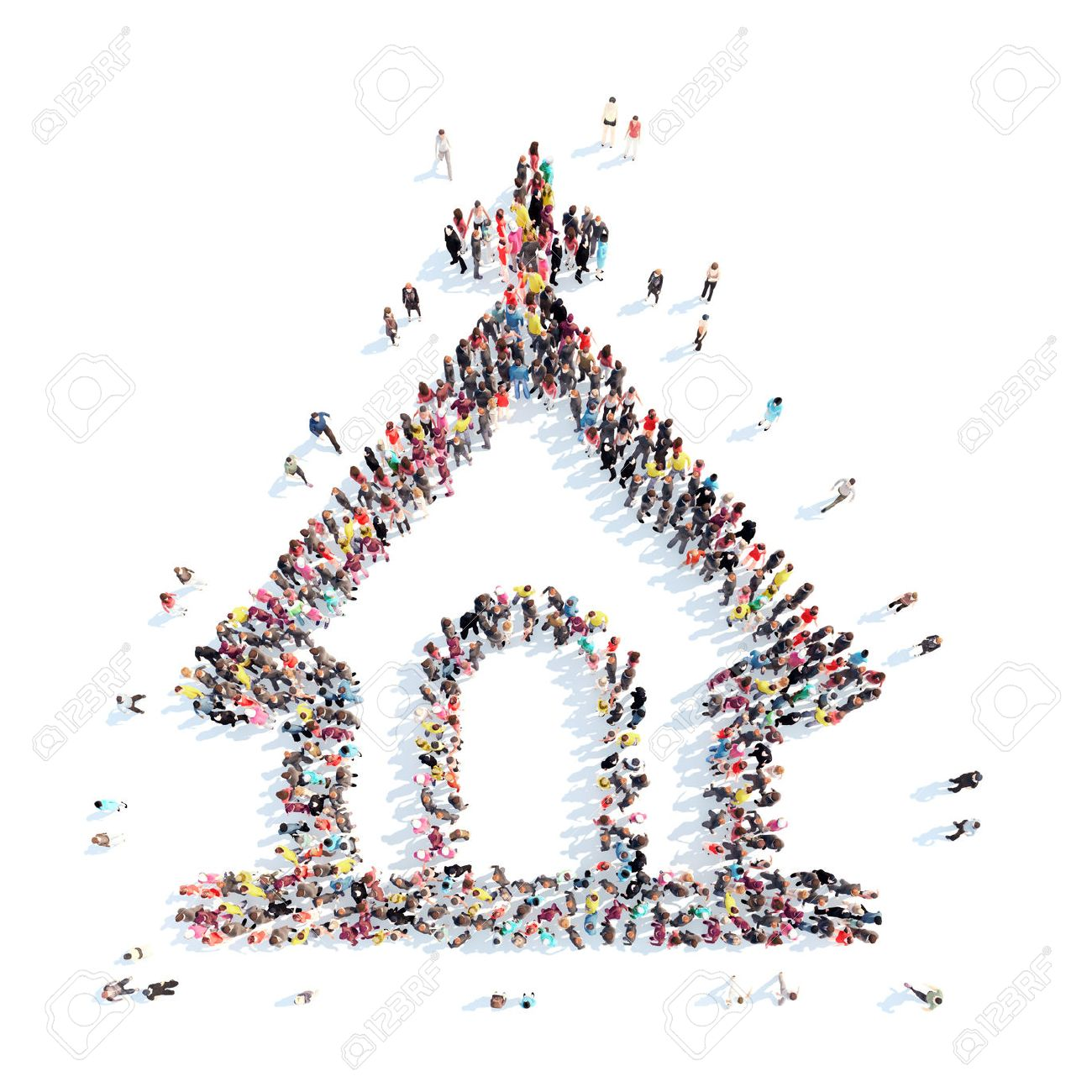 A large group of people in the shape of the church. Isolated, white background. - 41243974