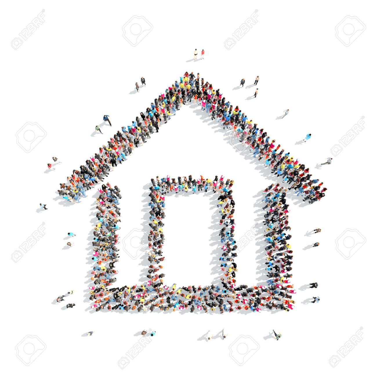 A large group of people in the shape of a house. Isolated, on a white background. - 41244137