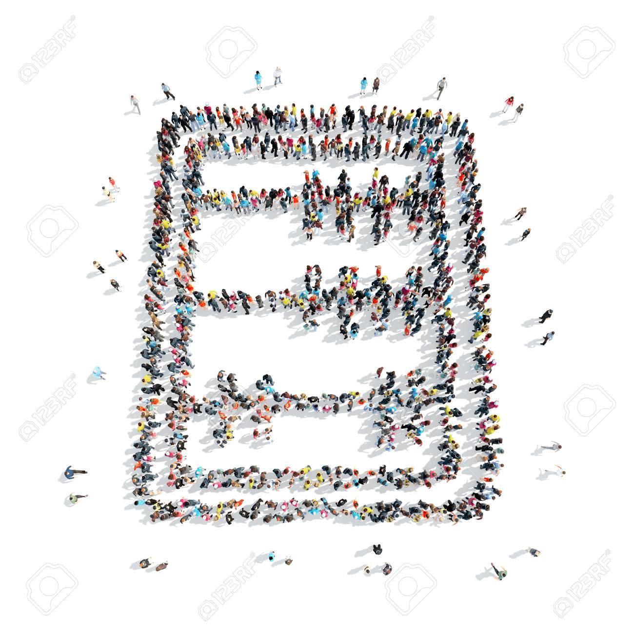 Eine Gruppe Von Menschen In Der Form Der Rechnungslegung Abakus