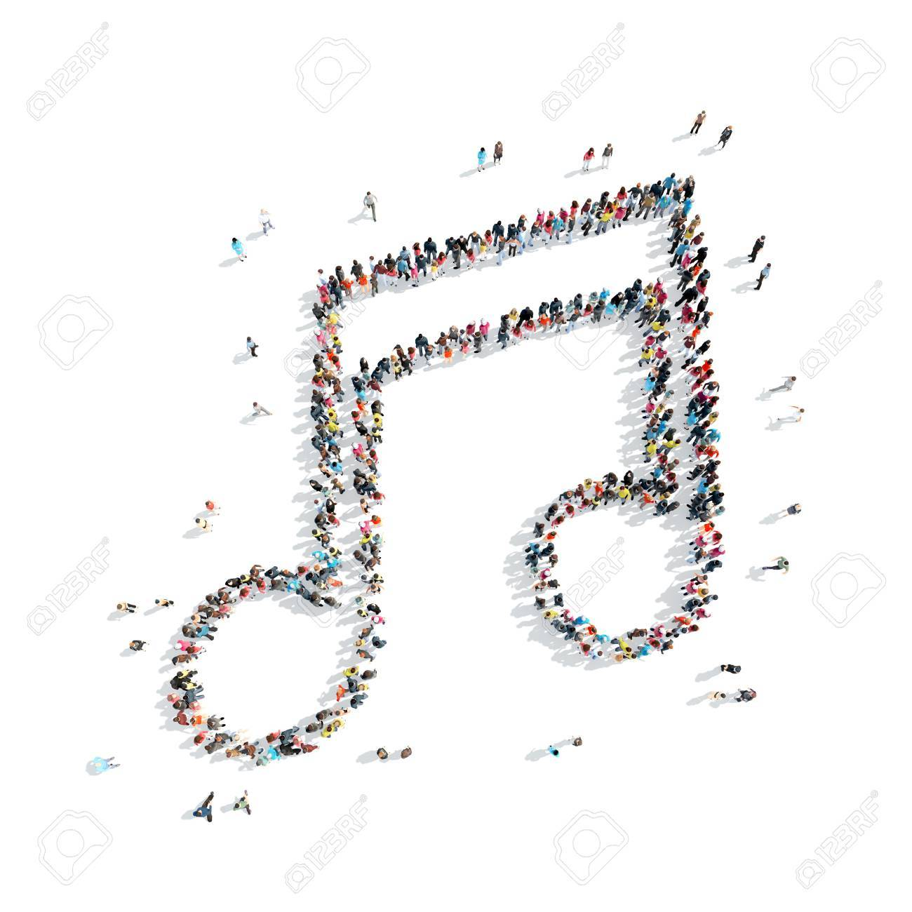 A Group Of People In The Shape Of A Note Music Cartoon Isolated