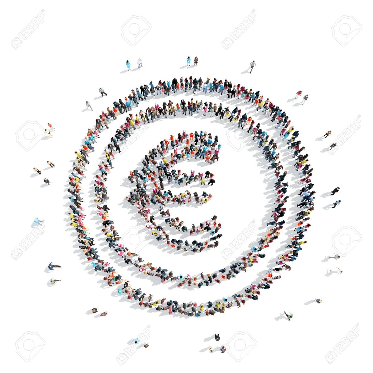 A Group Of People In The Shape Of Euro Sign Money Cartoon Stock