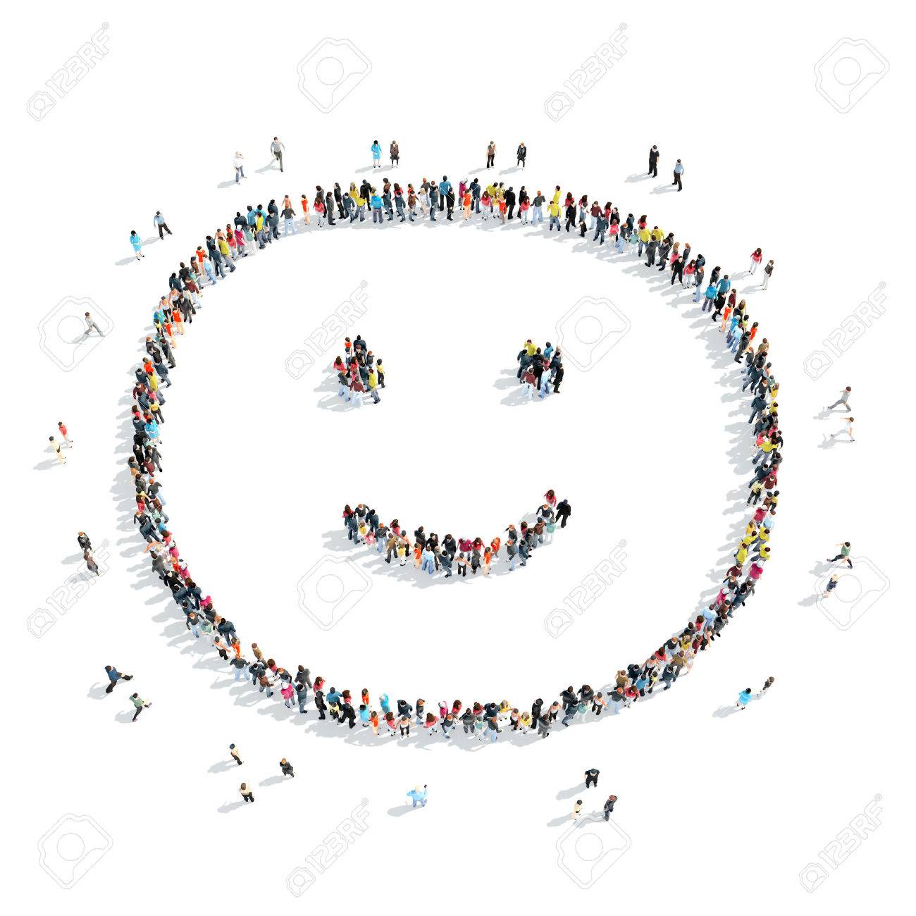 A group of people in the shape of a smile, cartoon, isolated, white background. - 45471933