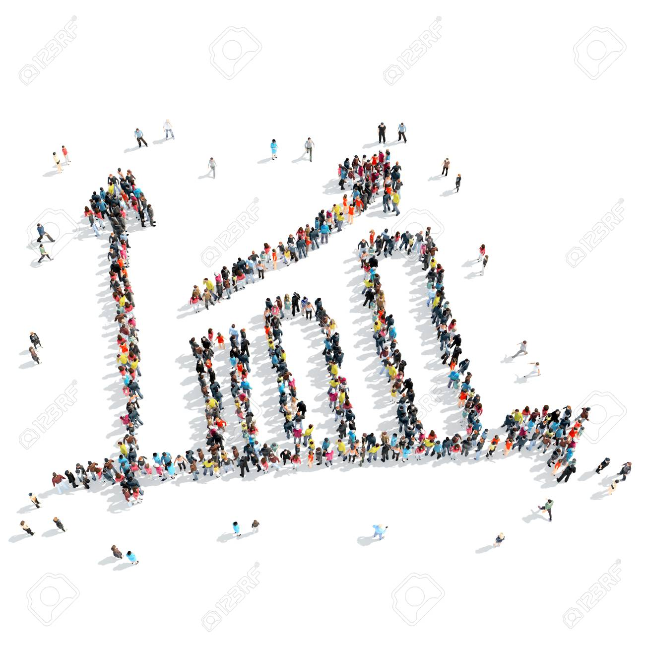 A group of people in the shape of a graph, success, isolated, cartoon, white background. - 46002694