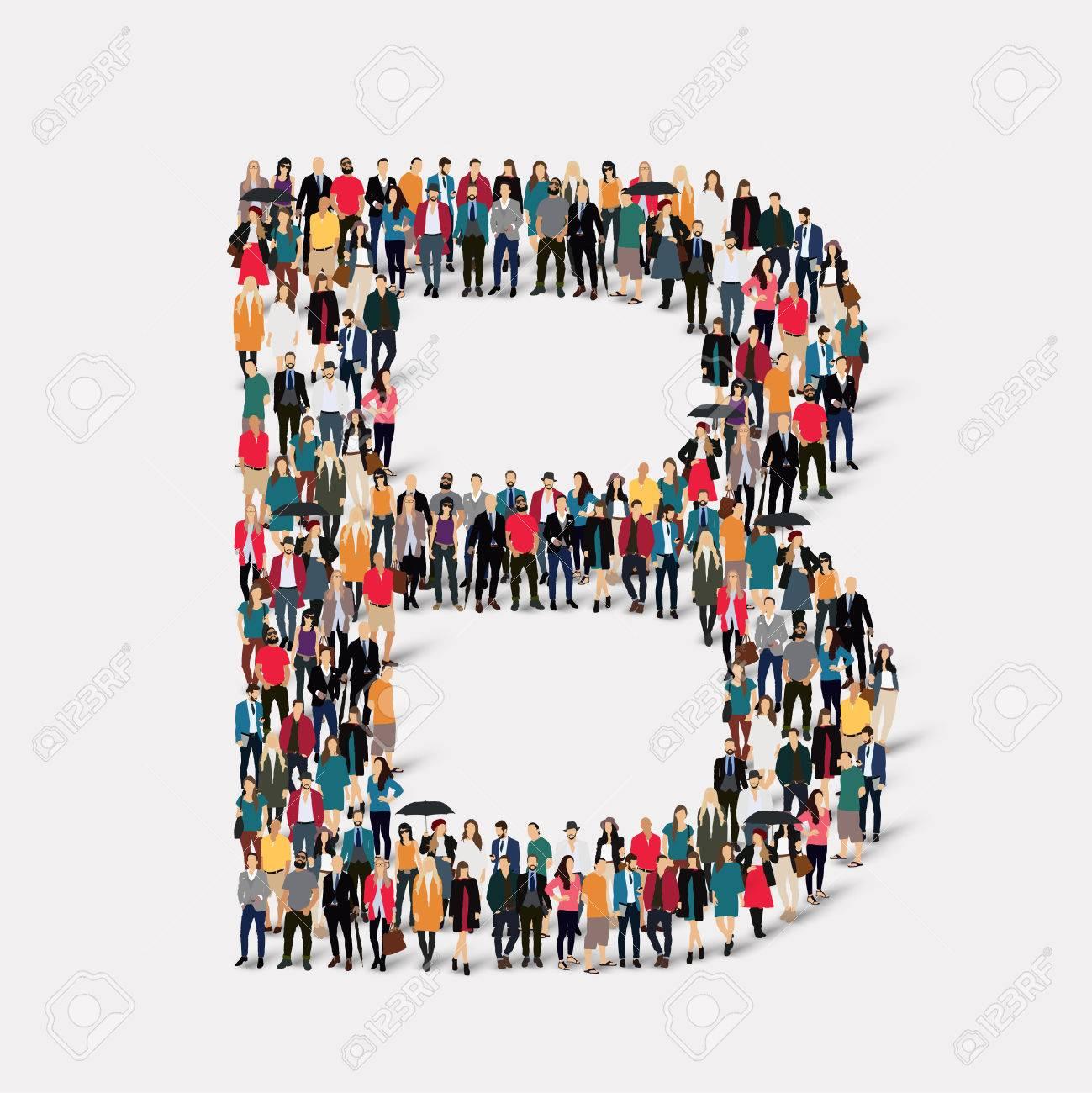 Große Gruppe Von Menschen In Briefform B Illustration Lizenzfreie