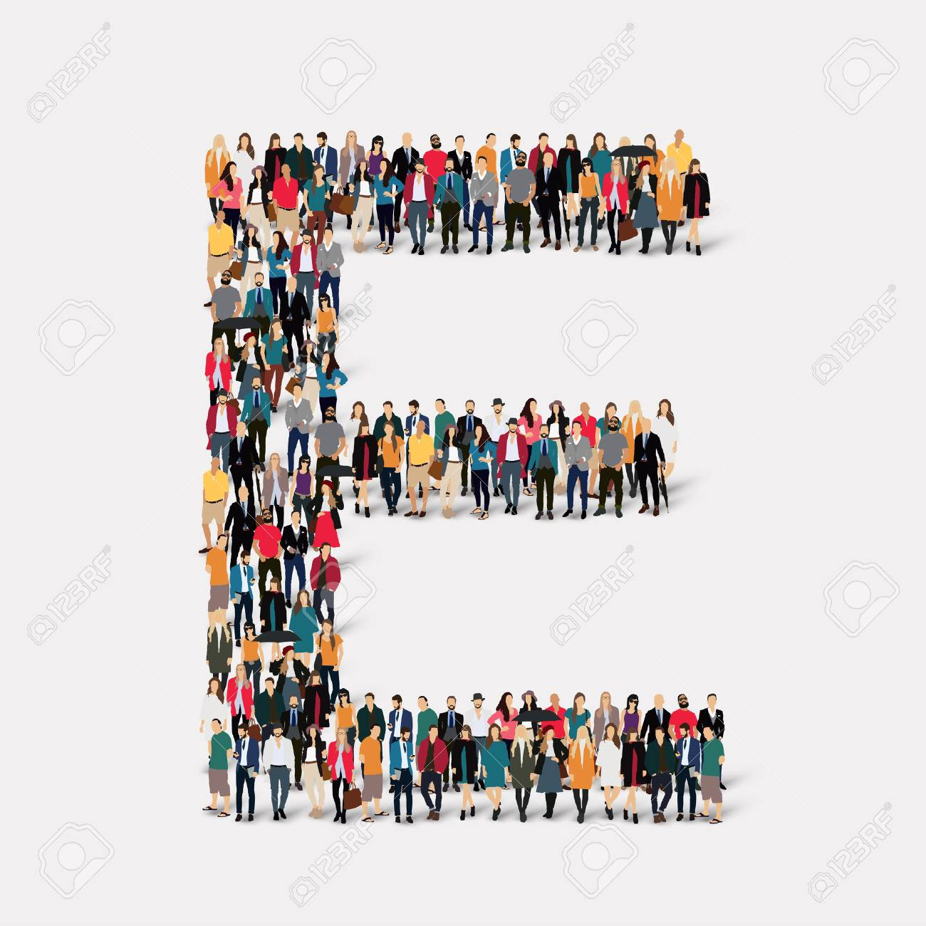 Large group of people in letter form E. illustration. - 48125556