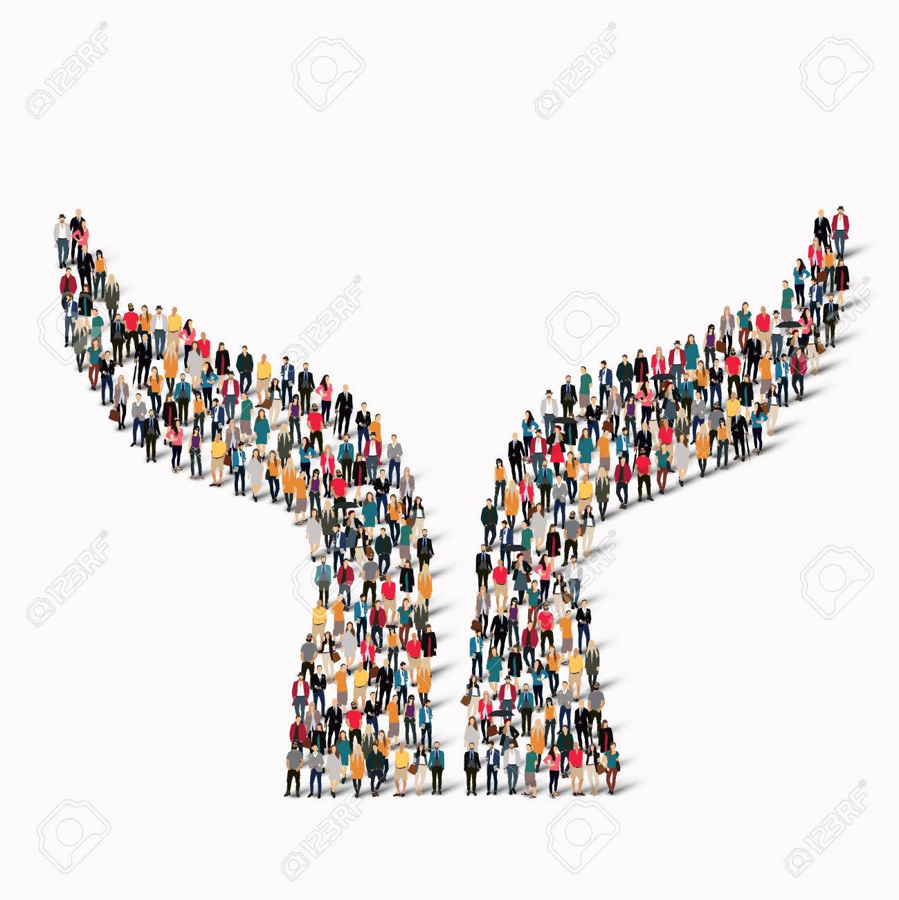 A large group of people in the shape of a hand. illustration - 48125860