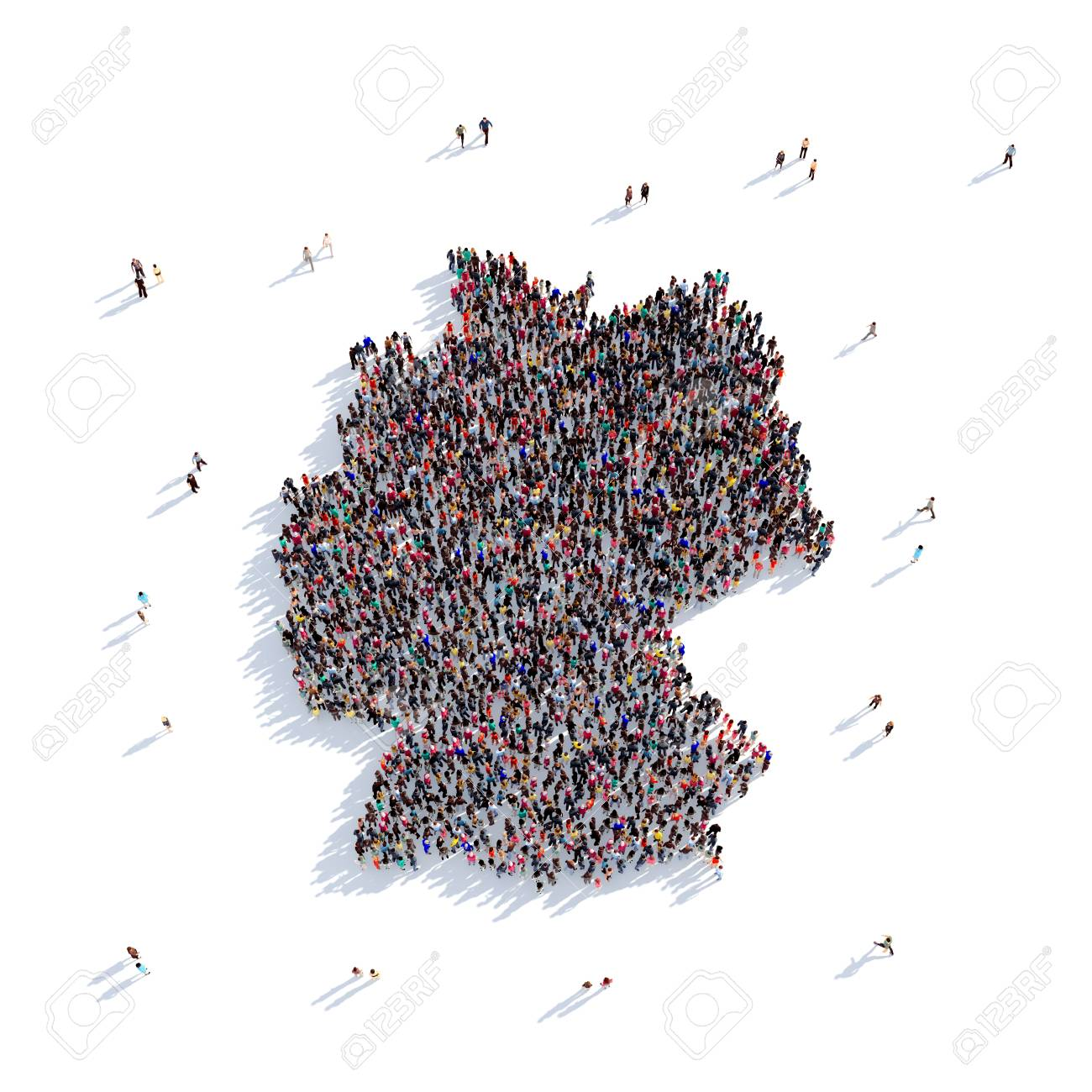 Large Map Of Germany.Large And Creative Group Of People Gathered Together In The Form