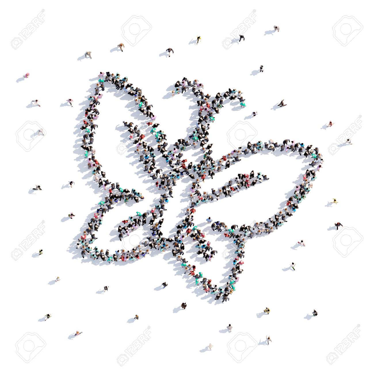 A Lot Of People Form Butterfly Childrens Drawing 3d Rendering