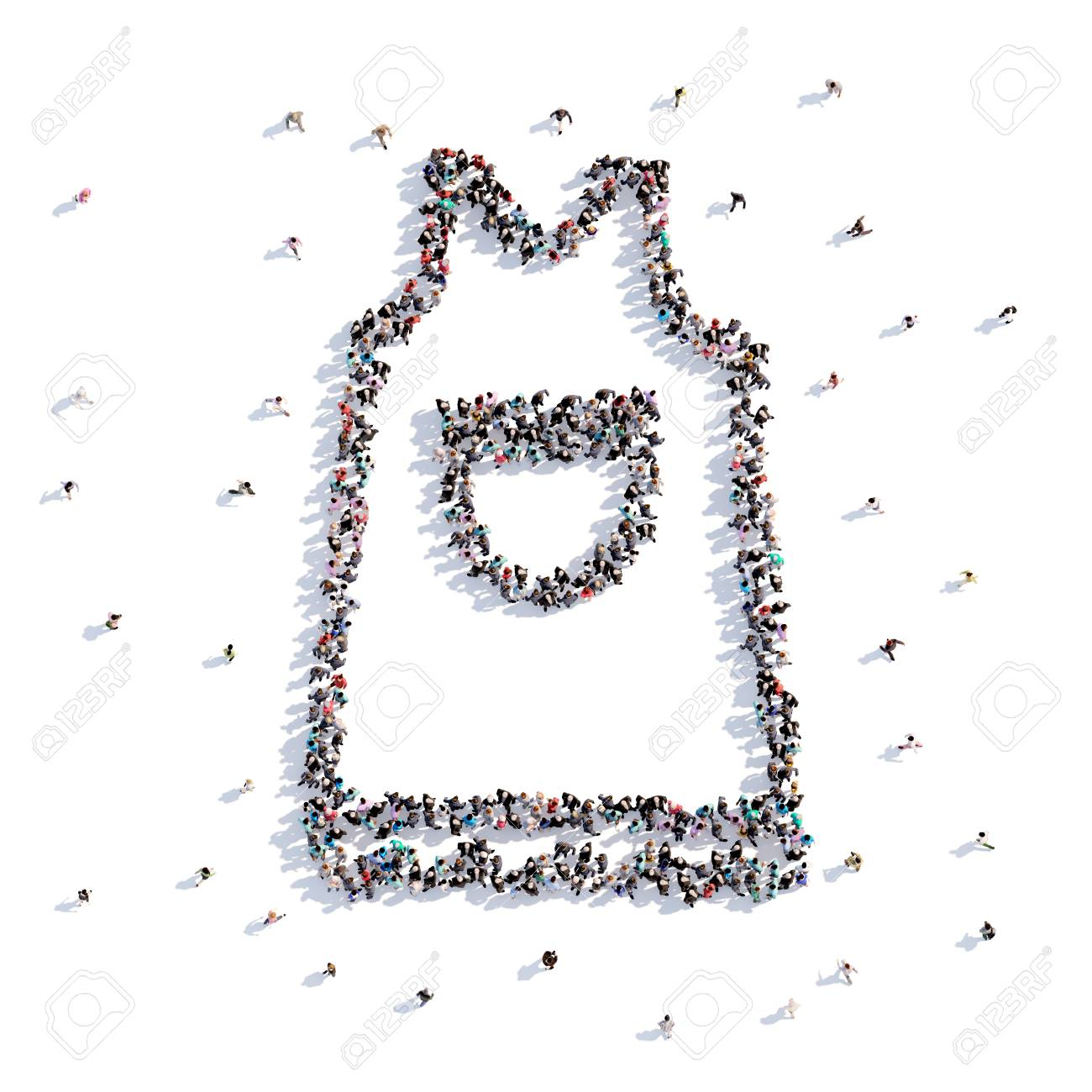 a lot of people form apron, hand drawing . 3d rendering. stock photo