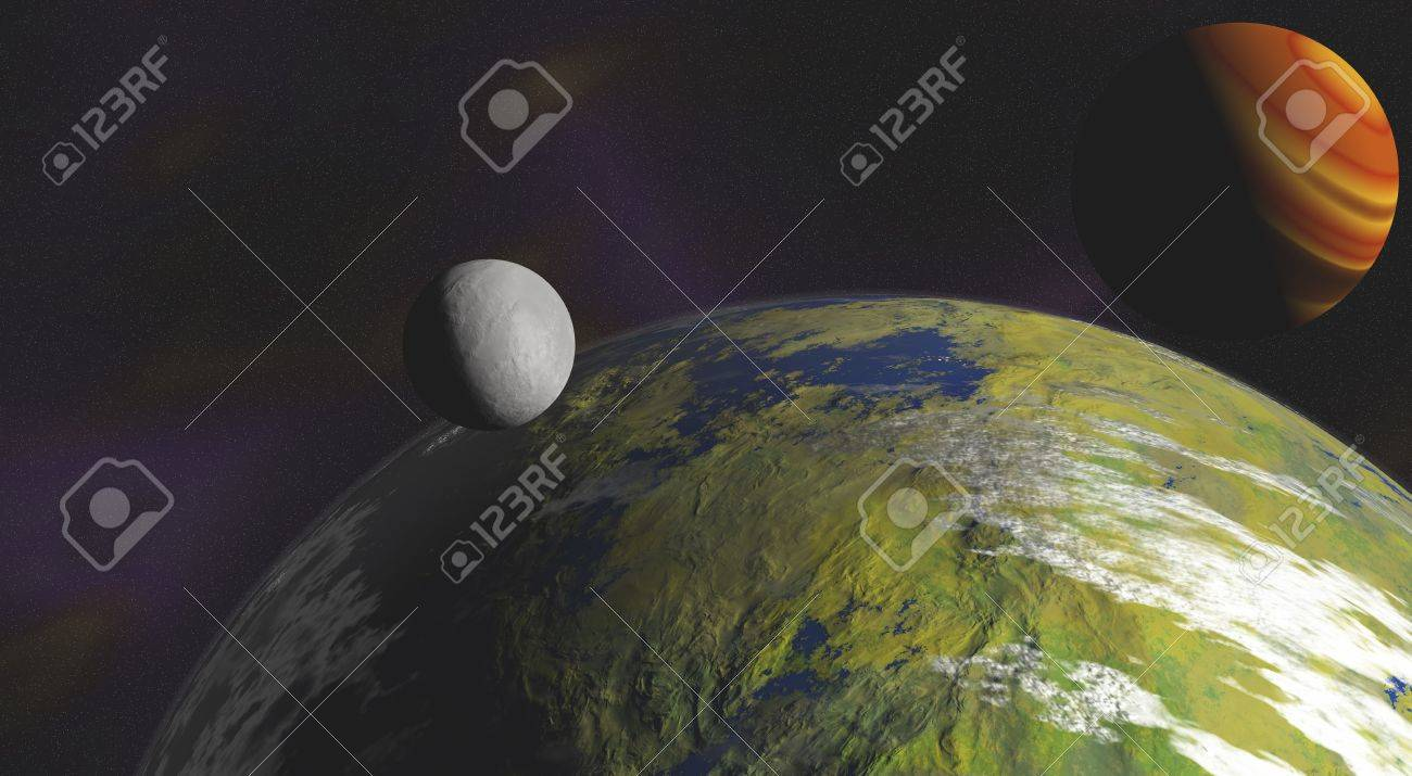 Close up of an alien planet with a moon in its orbit and a nebula background Stock Photo - 12291582