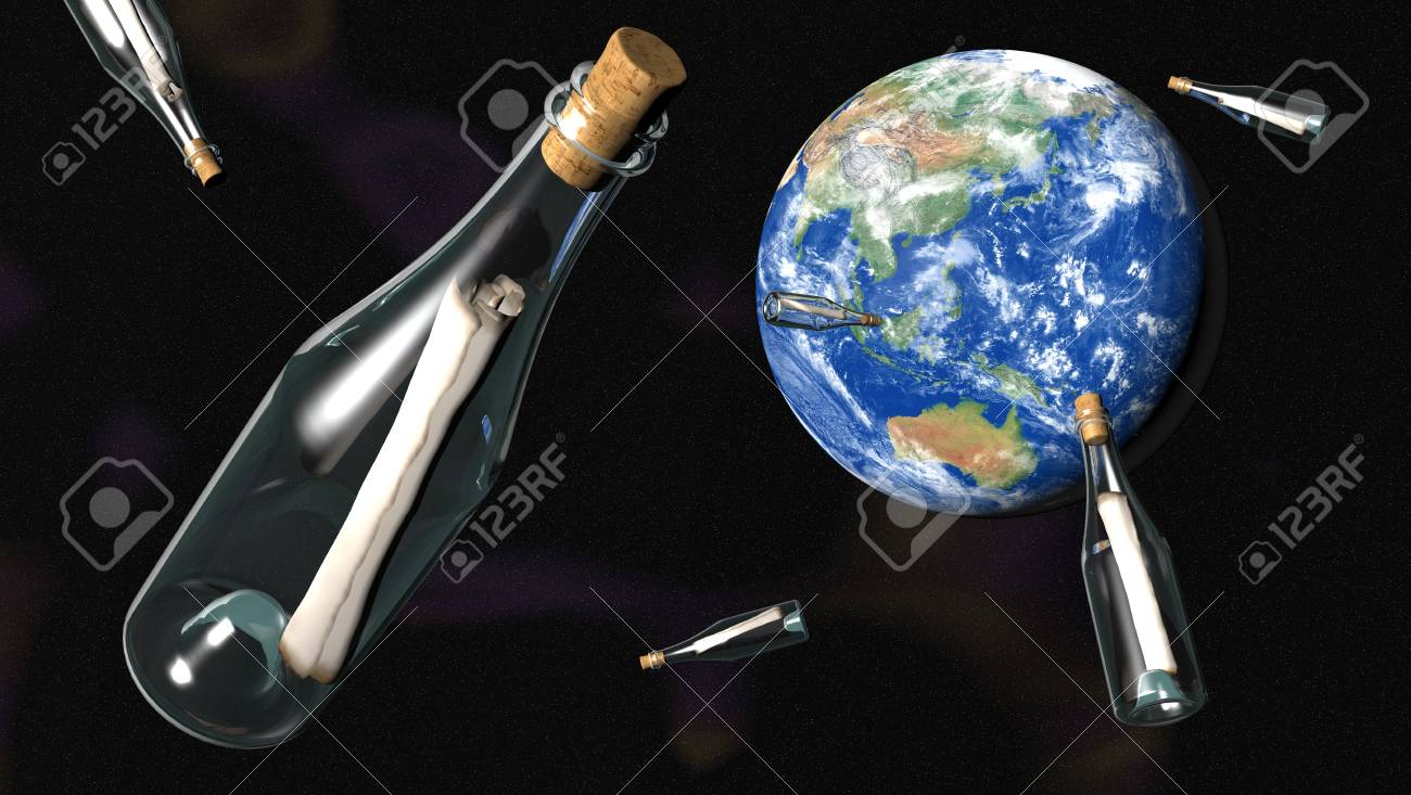 Various bottles in the space containing a message go to the world Stock Photo - 12755839