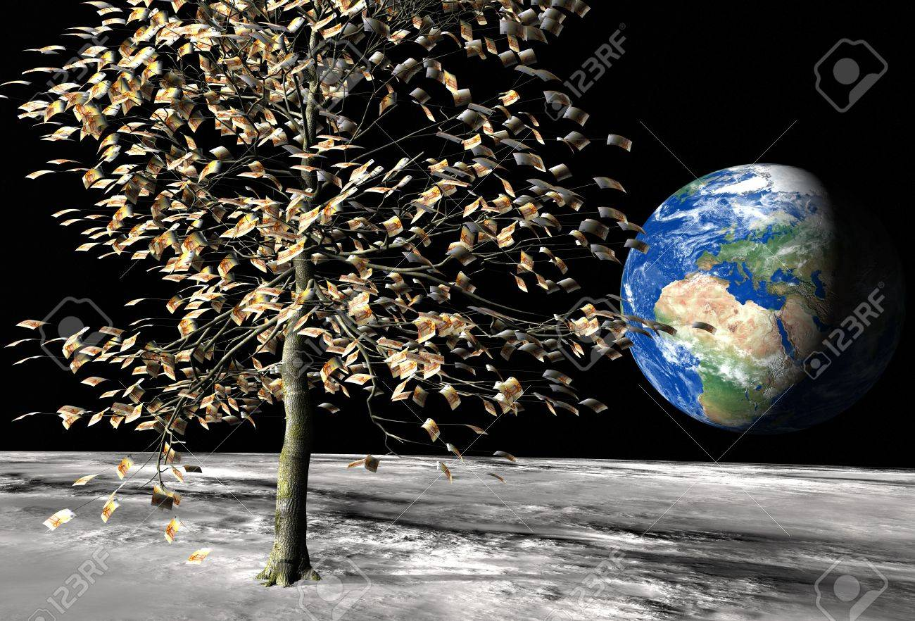money tree on the moon surface with € 50 bills instead of leaves and the planet earth on the background Stock Photo - 13516043
