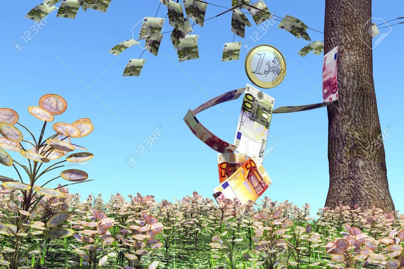 Ein Mann Von Euro Banknoten Und Münzen Hergestellt Wird An Einen