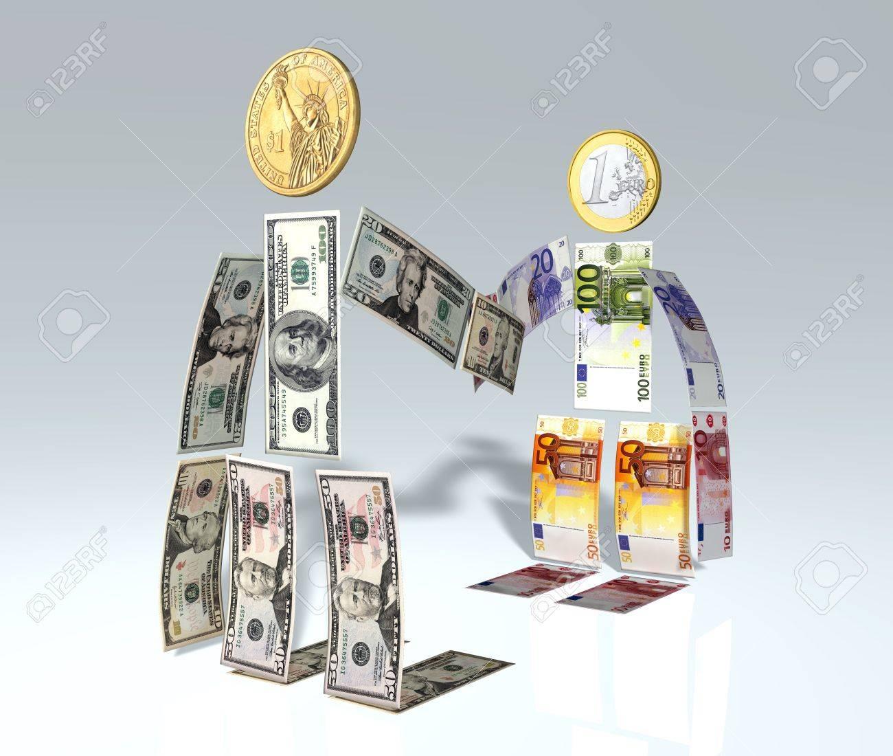 Ein Mann Von Dollar Banknoten Und Münzen Hergestellt Wird