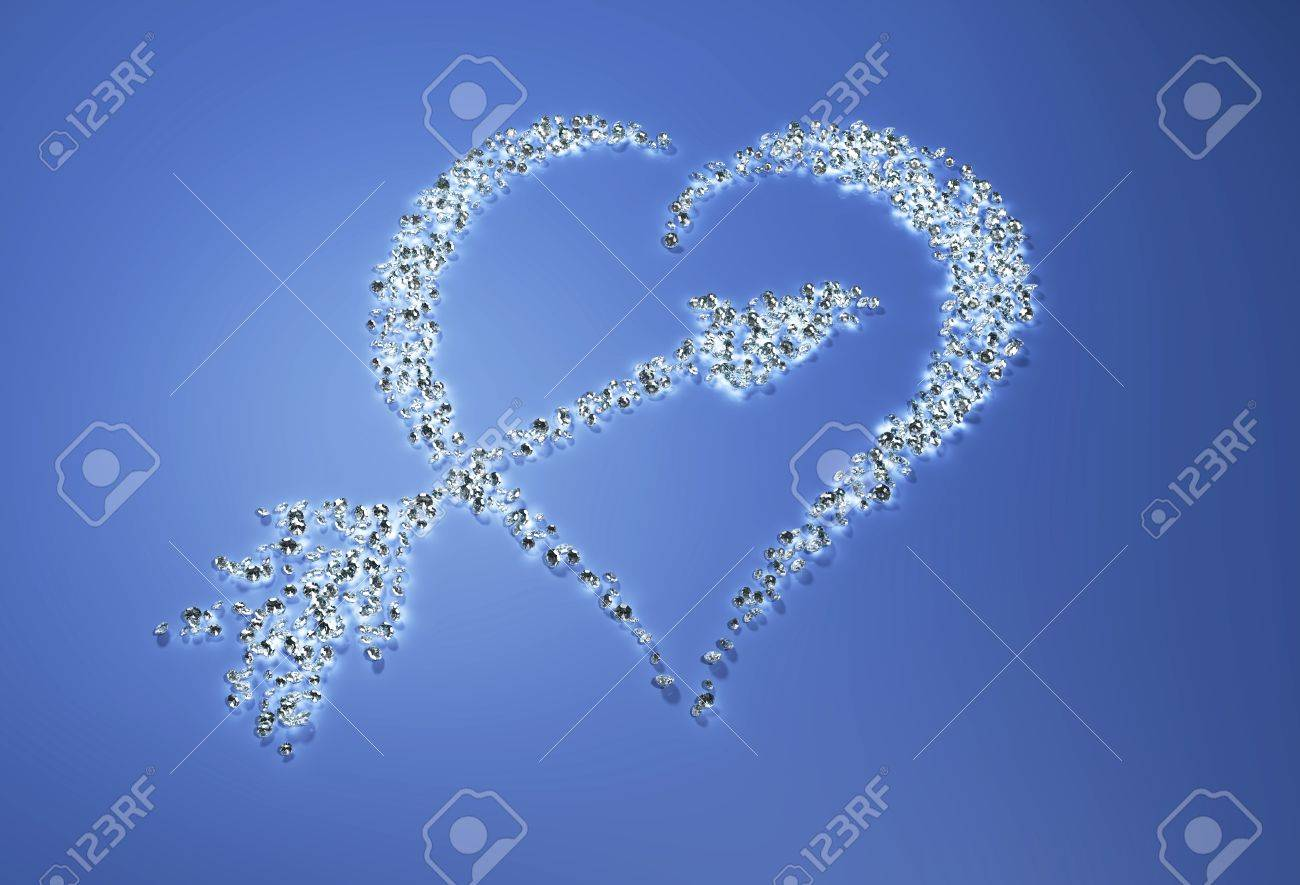 a group of many small diamonds have been put together to form a shape that represents a heart with a arrow inside it on a blue background Stock Photo - 18373429