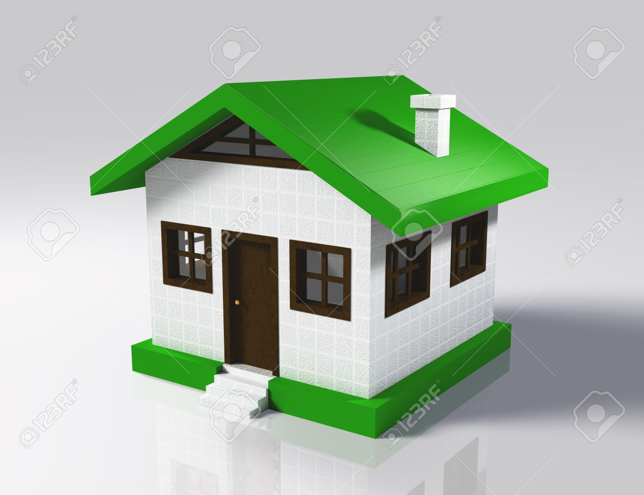 Perfect A 3D Rendering Of A Small Model Of House With Base And Roof That Are Green