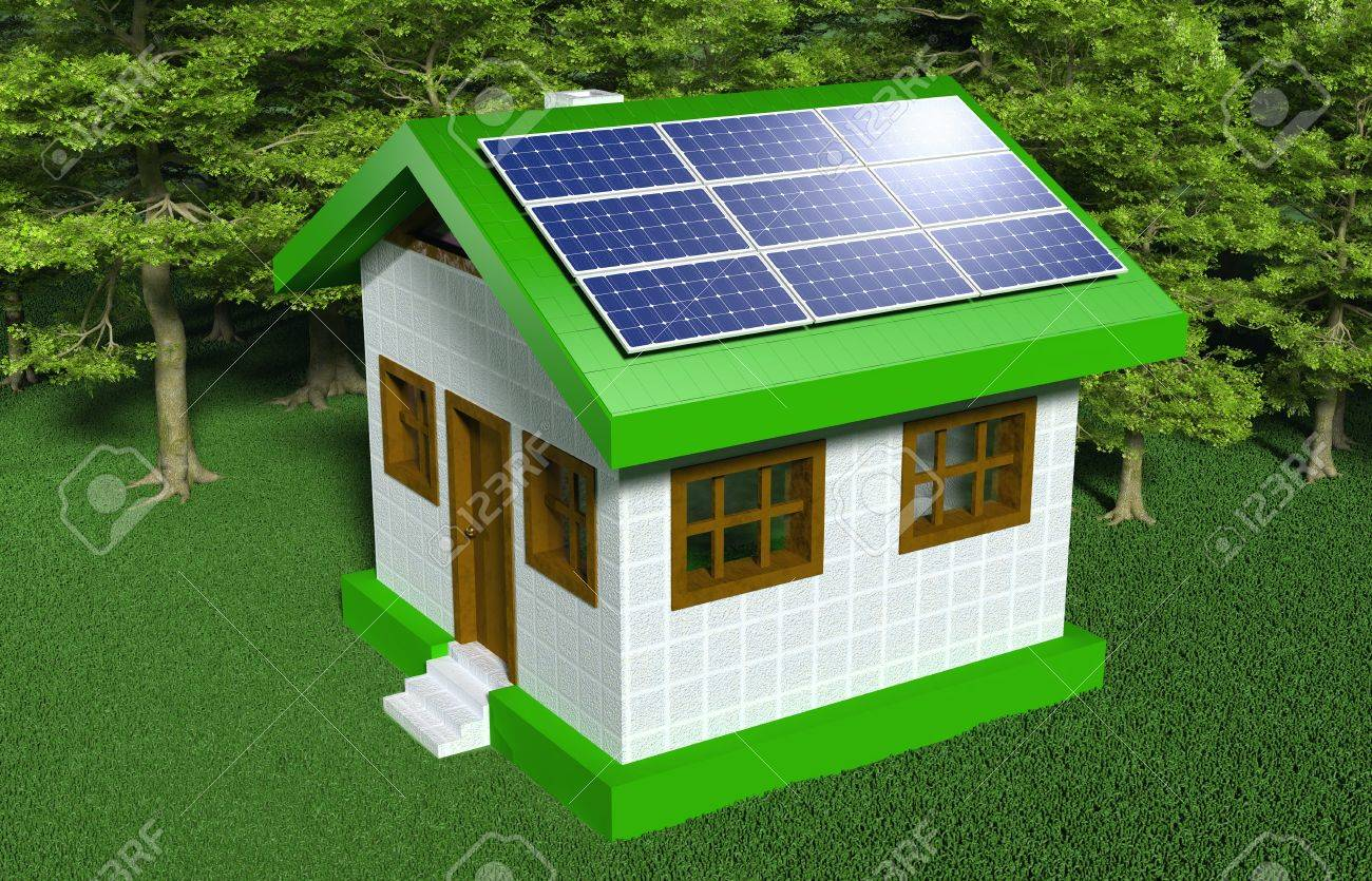 A Small House With White Walls And Green Roof Has Some Solar Panels Placed  On One