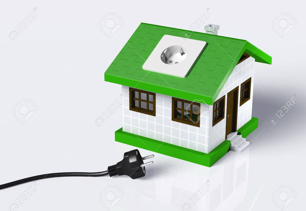 A Small House With A Socket On The Roof Is Disconnected From.. Stock ...