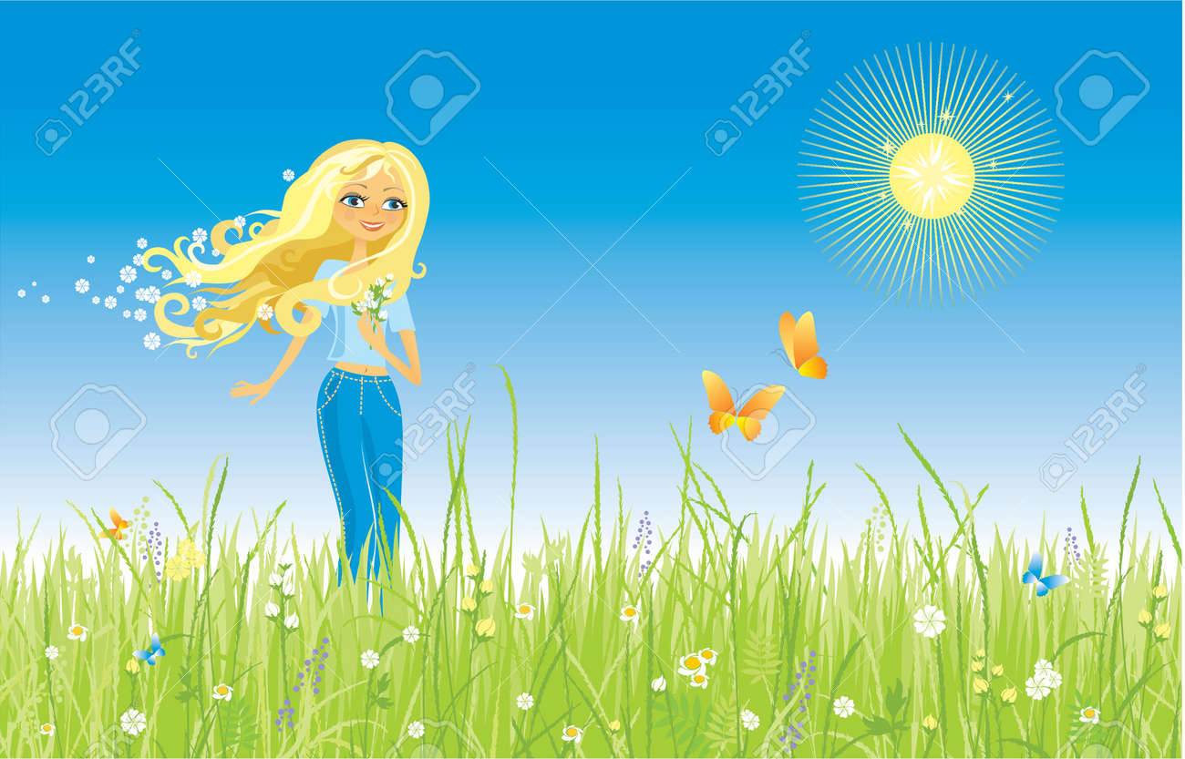 The girl and butterfly. Grass and flowers. Stock Vector - 734316