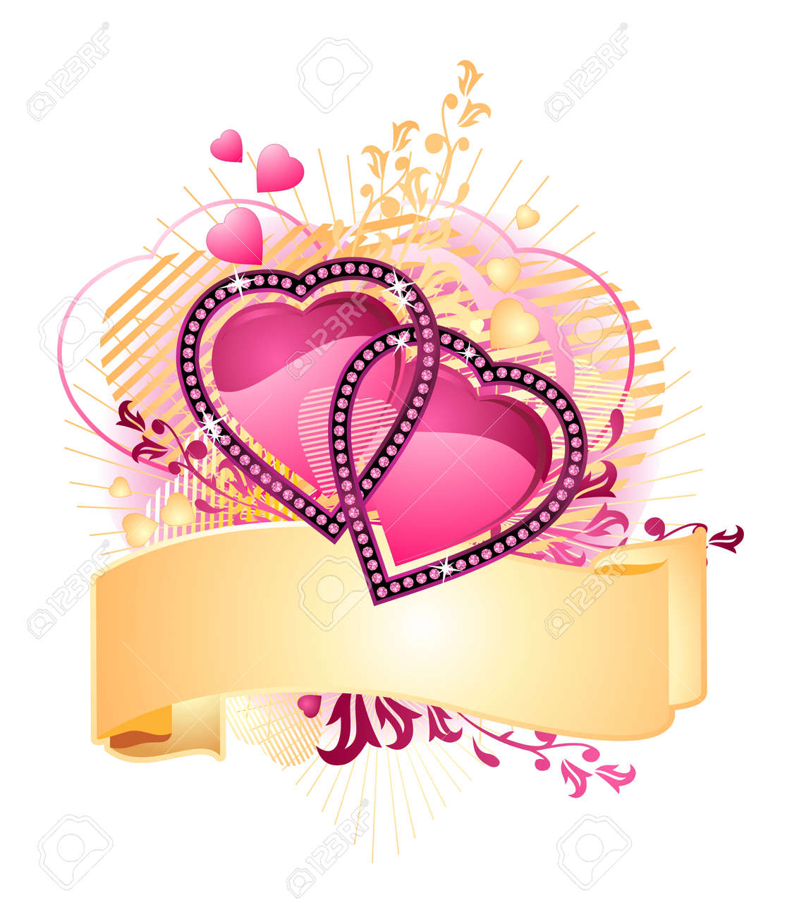 love hearts / with banner for your text / valentine /  vector Stock Vector - 2207915