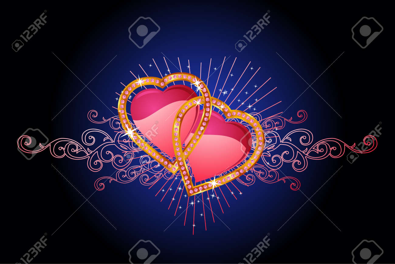 two  love hearts /  valentine and wedding /  vector Stock Vector - 2229884