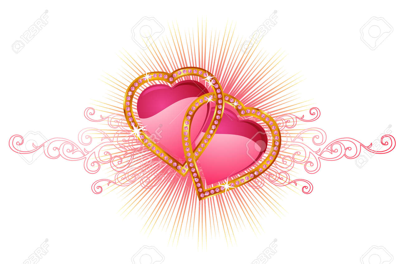 two love hearts valentine and wedding vector royalty free
