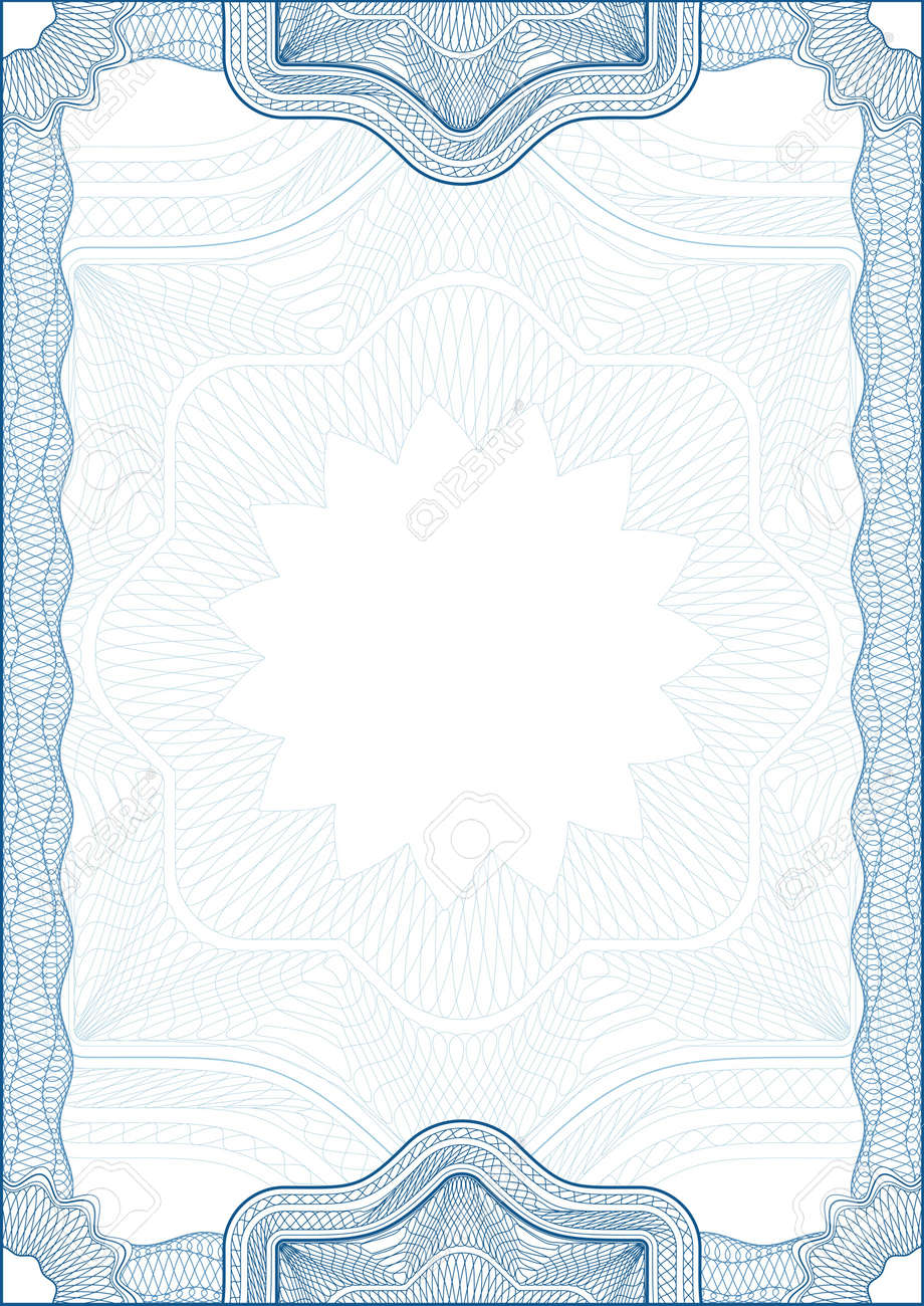 Classic guilloche border for diploma or certificate. A4 . Stock Photo - 2527269