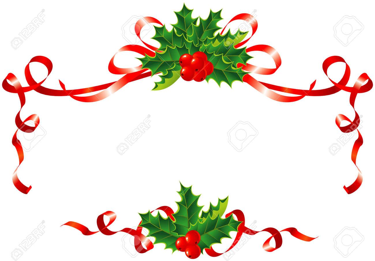 christmas decoration holly and ribbons border vector rh 123rf com christmas border vector free christmas border vector designs