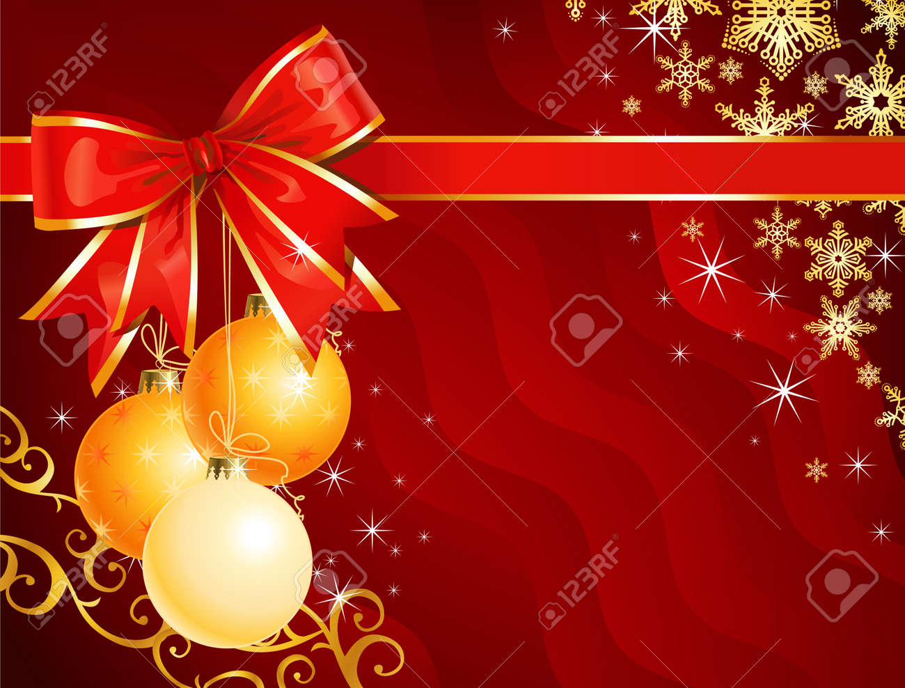 Christmas decoration with ribbon / holiday background / vector / The layers are separated Stock Vector - 3681513