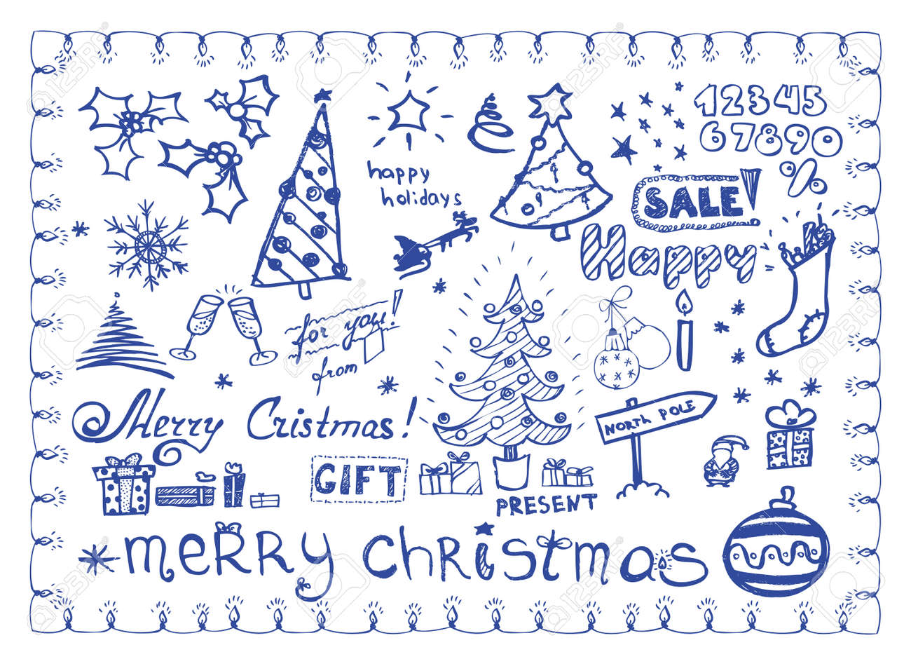 Christmas doodles / vector illustrations set Stock Vector - 5827983