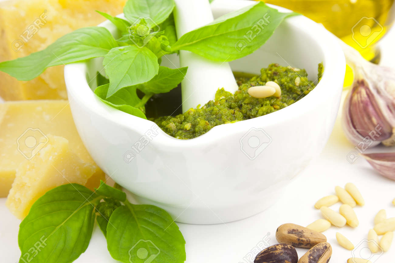 Fresh Italian Pesto and its ingredients Stock Photo - 11272325