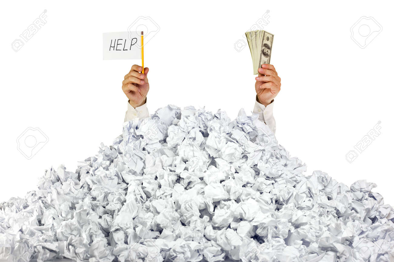 help me person under crumpled pile of papers hand holding help me person under crumpled pile of papers hand holding a help sign and money