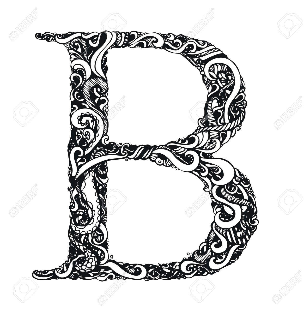 Lettre Capital B Calligraphie Vintage Style Swirly Hand Drawn