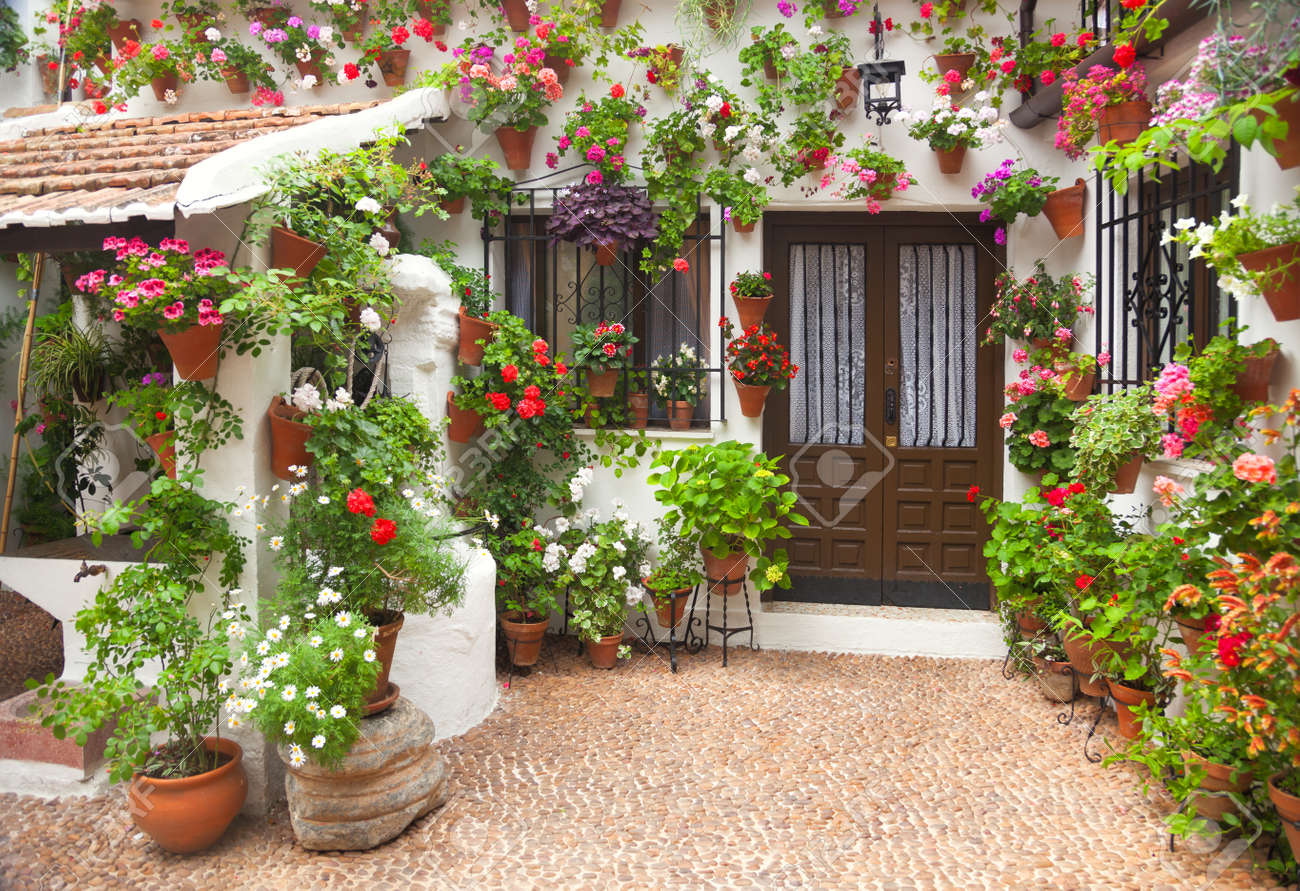 Spring Flowers Decoration Of Old House Spain Cordoba Europe Stock