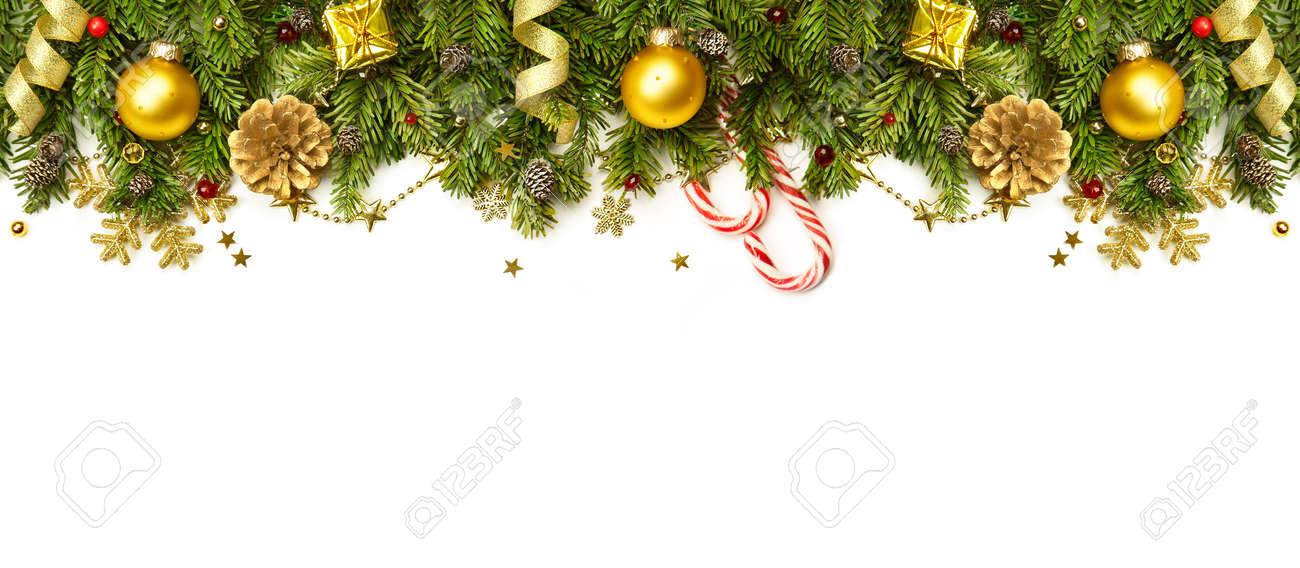 Frontera De La Navidad - Ramas De Los árboles Con Adornos De Oro ...