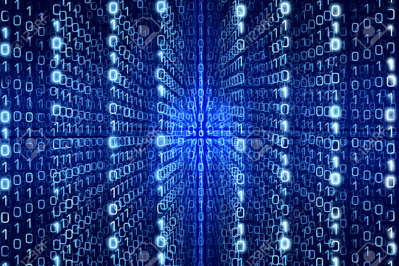 Blue Matrix Abstract - Zeros and Ones - Digital background - 38237083