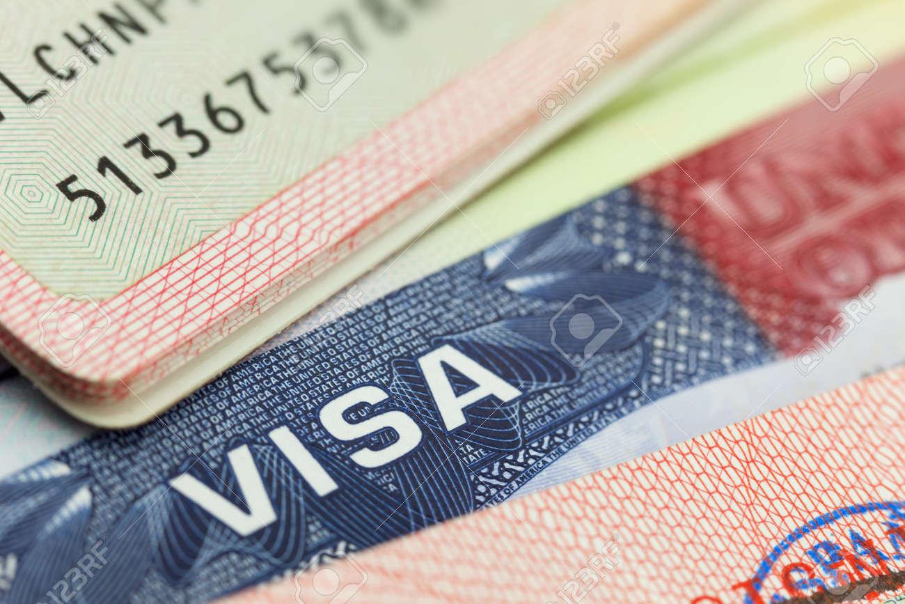 USA visa in a passport - travel background - 38906104