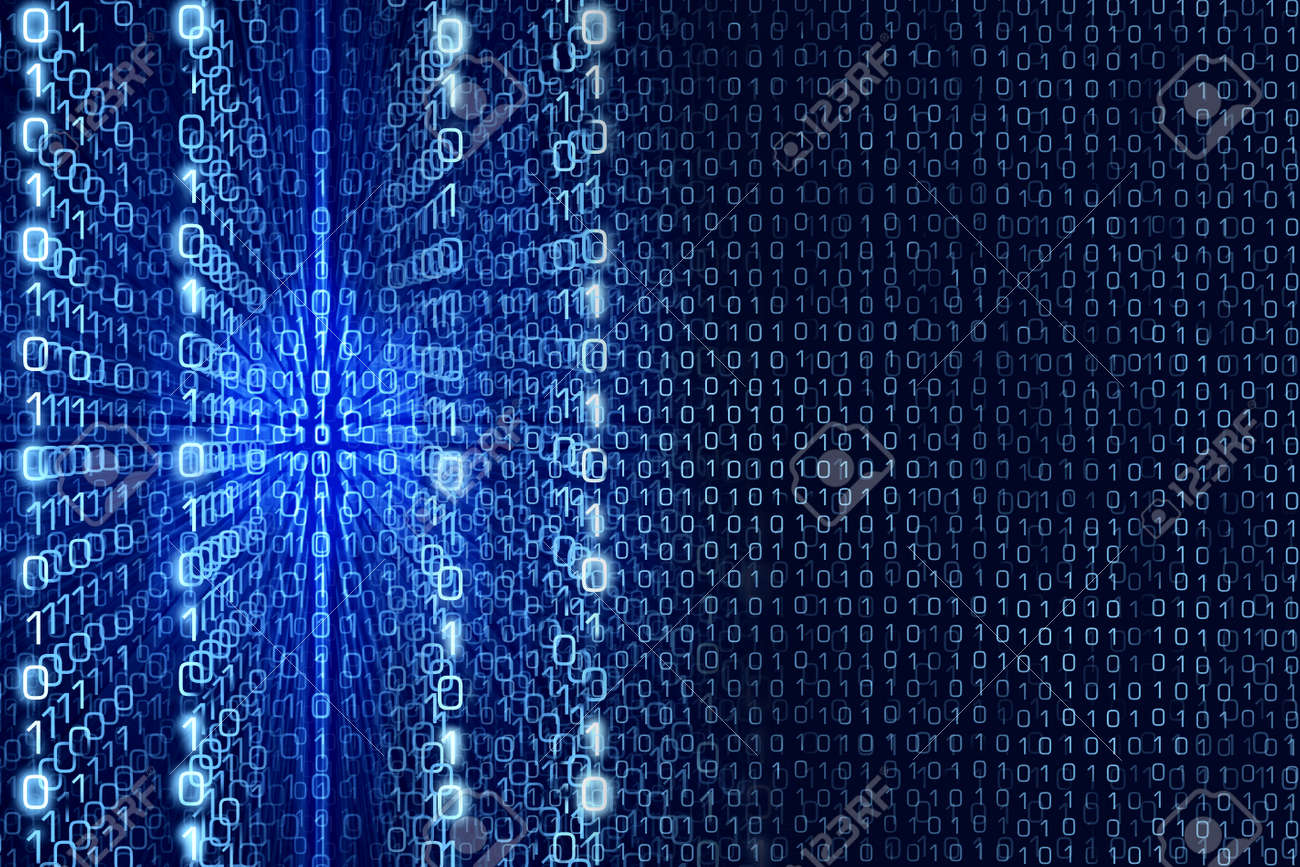 Blue Matrix Abstract - Zeros and Ones - binary code Digital background - 40147349