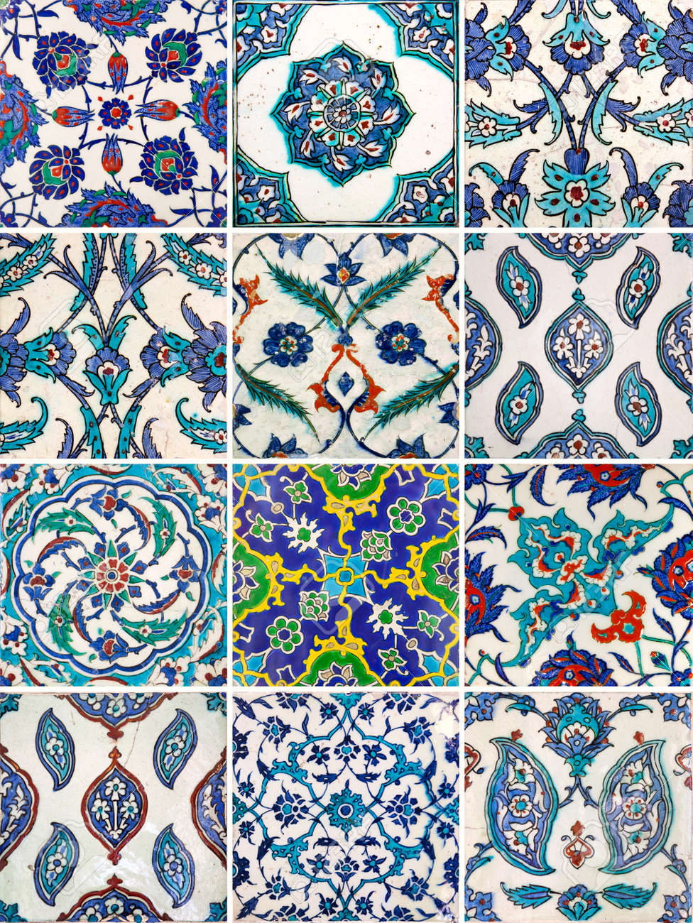 Set of ancient traditional handmade tiles more than 200 years set of ancient traditional handmade tiles more than 200 years collection of islamic ornaments dailygadgetfo Choice Image