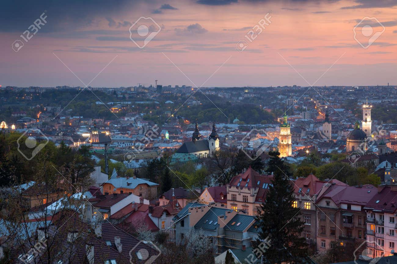 Panoramic Aerial view of old town at sundown. Lviv, Ukraine, Europe - 47319084